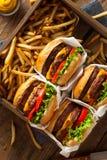 Двойные Cheeseburgers и фраи француза Стоковое фото RF