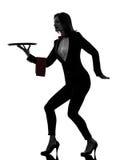 Дворецкий кельнера женщины держа пустой силуэт подноса стоковые изображения rf