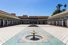 Дворец Бахи ` почетности суда чести `, Marrakech, Марокко стоковые фотографии rf