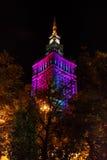 Дворец Варшавы культуры и науки на nighttime Стоковые Фотографии RF