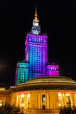 Дворец Варшавы культуры и науки на nighttime Стоковая Фотография RF
