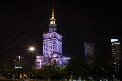 Дворец Варшавы культуры и науки на nighttime Стоковое фото RF