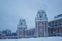Дворец в парке Москвы в зиме стоковые изображения rf