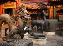 дворец города Пекин запрещенный драконом Стоковое Изображение RF