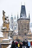 Дворец Николаса в зиме, взгляде от Карлова моста Стоковые Фотографии RF