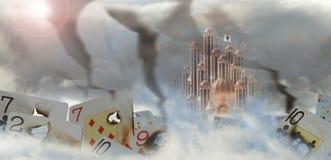 Дворец с, который сгорели карточками иллюстрация вектора