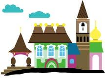 Дворец с belltower и церковью иллюстрация вектора