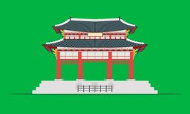 Дворец gyeongbokgung ворот квадрата Gwanghwamun в иллюстрации eps10 вектора Южной Кореи Сеула иллюстрация вектора