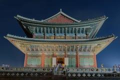 Дворец Gyeongbokgung на ноче Стоковые Изображения