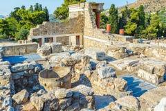 Дворец Knossos на дворец Крите, Греции Knossos, самые большие археологические раскопки бронзового века на Крите и церемонии Стоковая Фотография RF