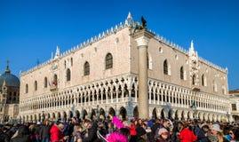 Дворец ` s дожа во время масленицы Венеции 2018 Стоковое Изображение RF