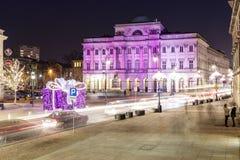 Дворец Staszic украшенный для рождества в Варшаве Стоковая Фотография RF