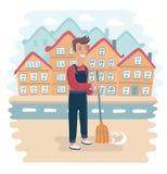 Дворник на работе, уборщик улицы, работник общественного сектора Нарисованная рукой иллюстрация вектора Стоковые Изображения RF