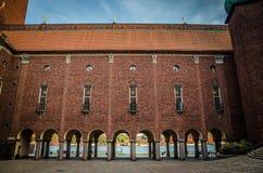 Двор в городской ратуше Stadshuset Стокгольма, Швеции стоковое фото rf