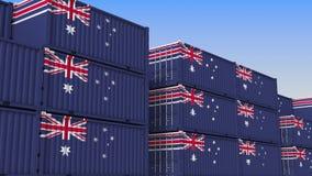 Двор контейнера вполне контейнеров с флагом Австралии Австралийские экспорт или импорт связали перевод 3D иллюстрация штока