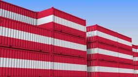 Двор контейнера вполне контейнеров с флагом Австрии Австрийские экспорт или импорт связали перевод 3D иллюстрация вектора