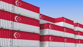 Двор контейнера вполне контейнеров с флагом Сингапура Сингапурский экспорт или импорт связали перевод 3D бесплатная иллюстрация