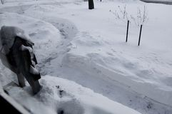 Двор покрытый снегом с копнутыми путем и почтовым ящиком стоковое фото