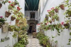 Двор украшенный с гераниумами, Cordoba, Испания стоковые фотографии rf