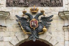 Двуглавый орел над парадным входом к Питеру и Полу fo Стоковая Фотография