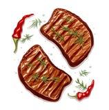 Двухкусочный стейка мяса бесплатная иллюстрация