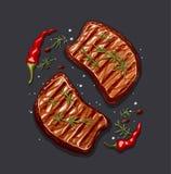 Двухкусочный стейка мяса иллюстрация вектора