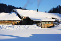 Двухмодовая ферма леса в провинции Хэйлунцзяна - деревне снега Стоковые Изображения RF