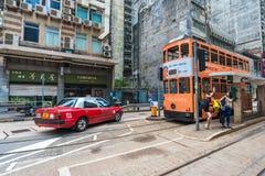 Двухэтажный автобус trams пути путешествовать в Гонконге Стоковая Фотография