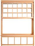 Двух-повешенные части окна. Деревянное двойное повешенное Windows. Стоковое фото RF