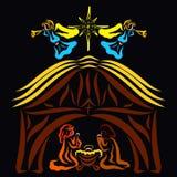 Дева мария и Иосиф рядом с Иисусом, амбаром, звездой и ангелы с трубой бесплатная иллюстрация