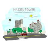 Девичья башня Баку иллюстрация вектора