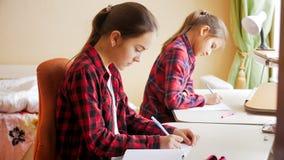 2 девочка-подростка сидя на большом окне и делая домашнюю работу Стоковое фото RF