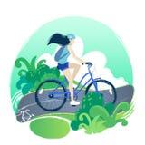 Девочка-подросток ехать велосипед на пути велосипеда через зеленые поля иллюстрация штока