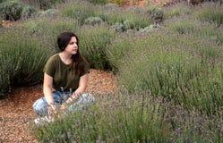 Девочка-подросток сидя и наслаждаясь красивая свежая лаванда h Стоковые Изображения