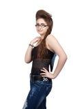 Девочка-подросток в голубом платье джинсовой ткани Стоковое Фото