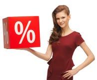 Девочка-подросток в красном платье с знаком продажи Стоковая Фотография RF