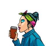 Девочка-подросток в стиле 90s выпивая кофе над предпосылкой полутонового изображения Бесплатная Иллюстрация