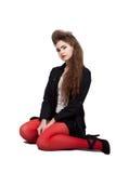Девочка-подросток в черных и красных одеждах Стоковое фото RF
