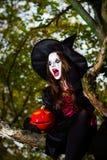 Девочка-подросток одел в костюме ведьмы сидя на дереве Стоковое Изображение