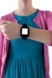 Девочка-подросток показывая ей smartwatch Стоковая Фотография