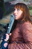 Девочка-подросток с леденцом на палочке Стоковое фото RF