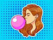 Девочка-подросток с жевательной резинкой над предпосылкой полутонового изображения Иллюстрация вектора