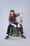 Девочка-подросток с тромбоном стоковые изображения rf