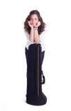 Девочка-подросток с тромбоном стоковое изображение rf