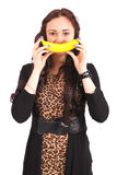 Девочка-подросток с улыбкой банана Стоковая Фотография