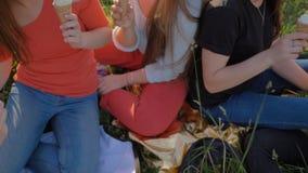 5 девушек соединяют руки clinking мороженое Конец-вверх рук сток-видео