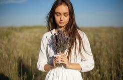 Девушка лаванды Стоковое Изображение