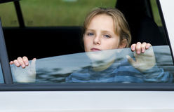 девушка автомобиля унылая Стоковая Фотография RF