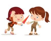 Девушка дает друга зонтика Стоковое фото RF