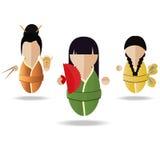 Девушка 3 азиатов Иллюстрация штока